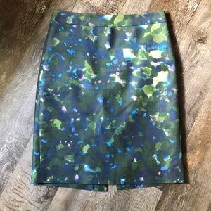 J crew watercolor print pencil skirt!